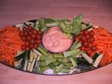 cruditees with a dip on a platter