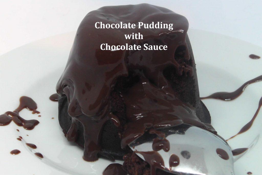 chocolate pudding and chocolate sauce