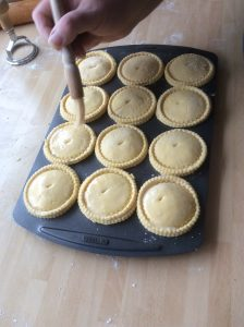 Coating Mince Pies with Egg