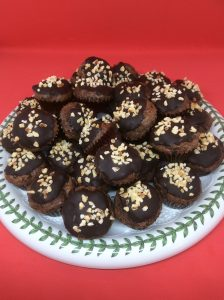 chocolate bites sprinkled with toasted hazelnuts