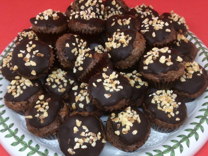 chocolate bites sprinkled with toasted hazelnuts