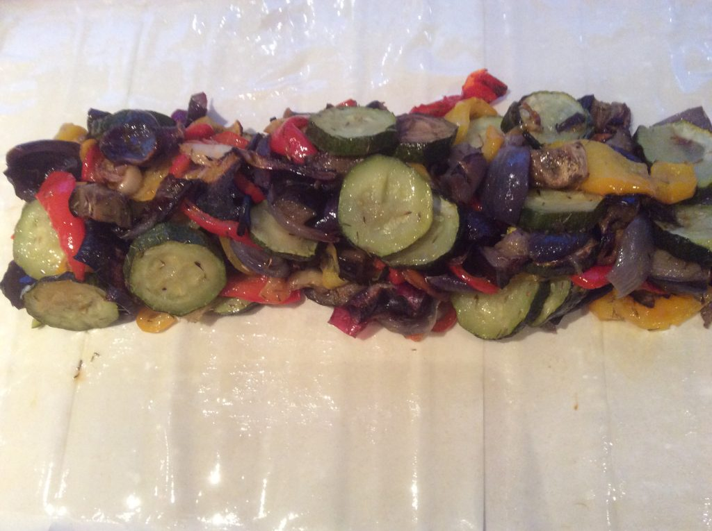 mediterranean vegetables on filo