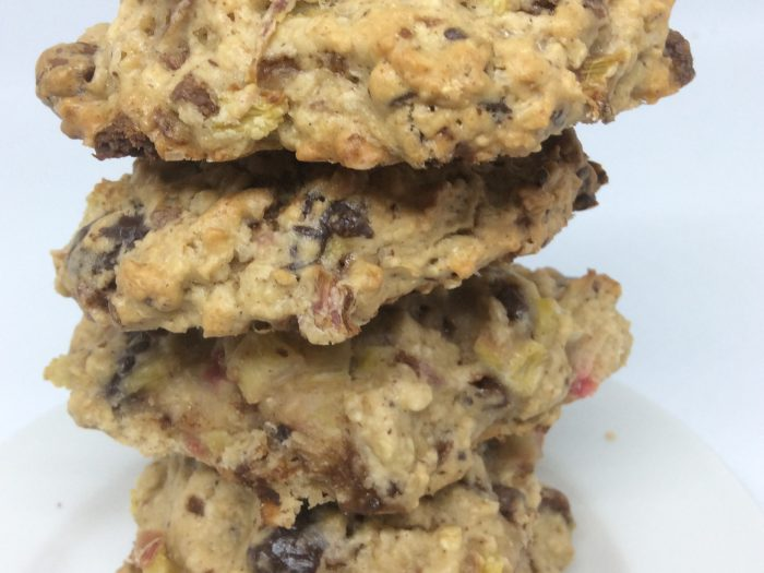 Chocolate and Rhubarb Oaty Cookies