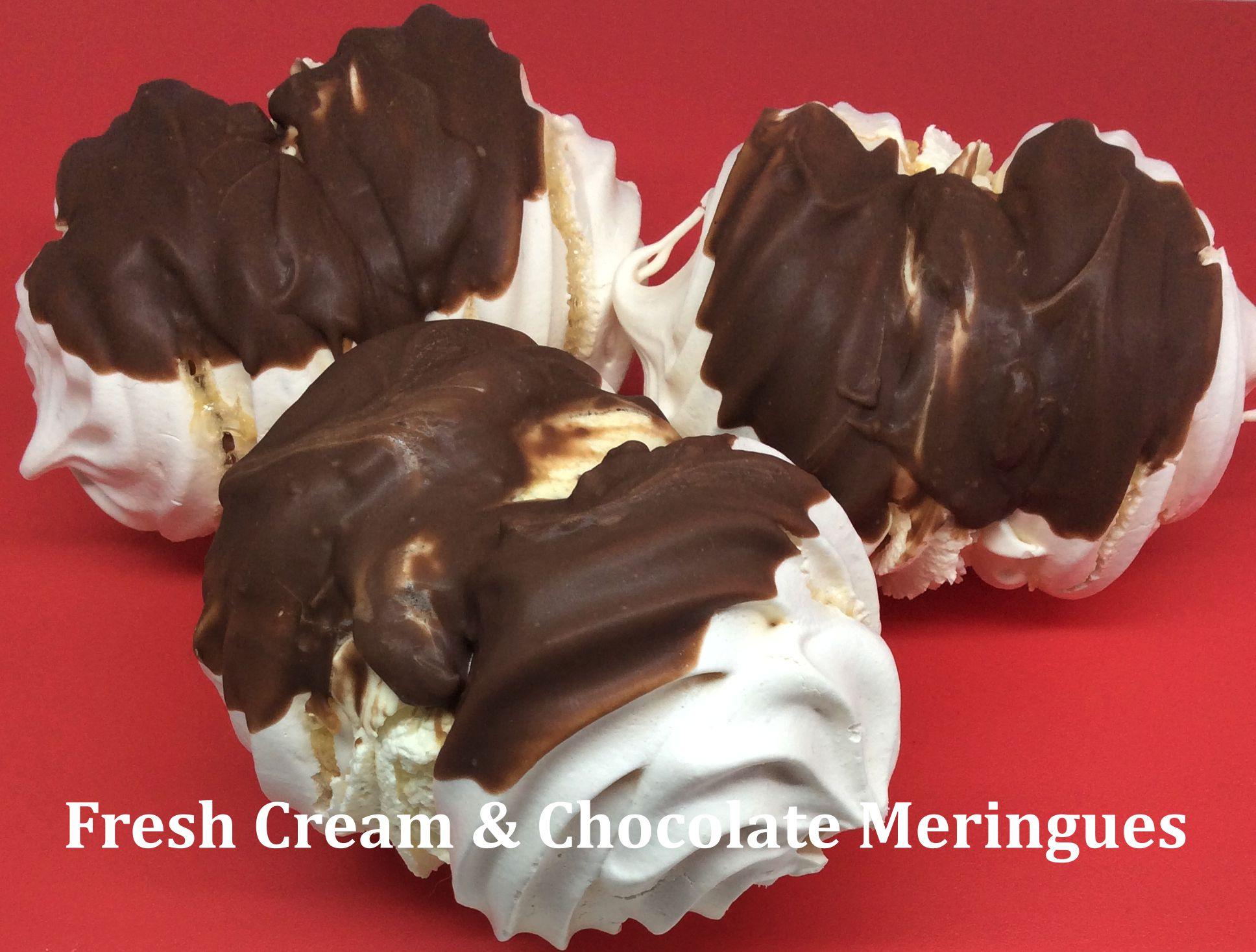 Fresh Cream and Chocolate Meringues