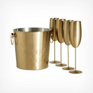 Brushed Gold Ice Bucket & 4 Glasses
