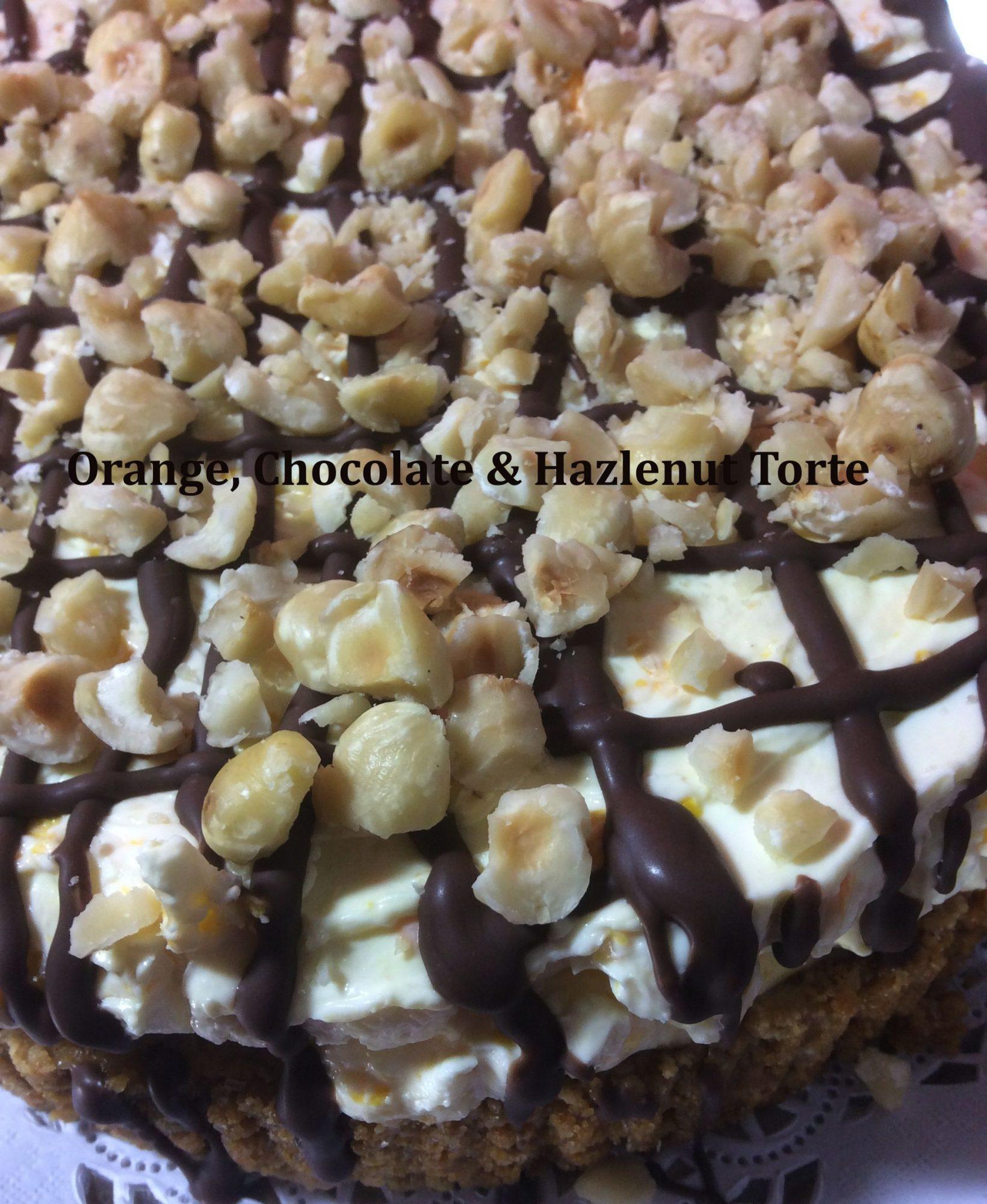 orange chocolate and hazlenut torte